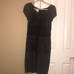 Grey dress with black flower design size 6